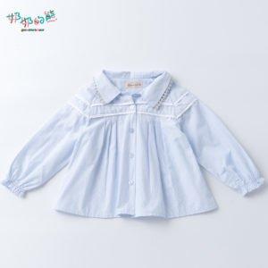 方格(直條紋領銀蕾絲襯衫1)