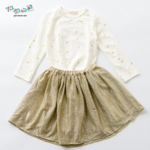 方格(金星棉T+金色鬆緊傘裙1)